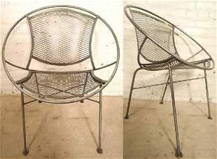 Pair Mid-Century Restored Hoop Chairs