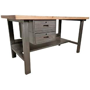 Large Restored Factory Work Table