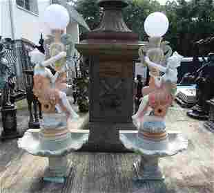 Pair of Marble Fountains/Lamps