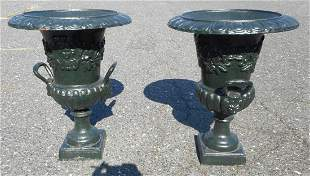 Pair of Cast Iron Urns With Decorative Handles