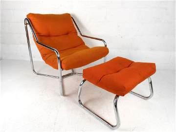 Mid-Century Chrome Lounge Chair w/ Ottoman