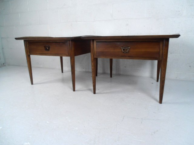 Pair Mid-Century Walnut End Tables by Bassett Furniture