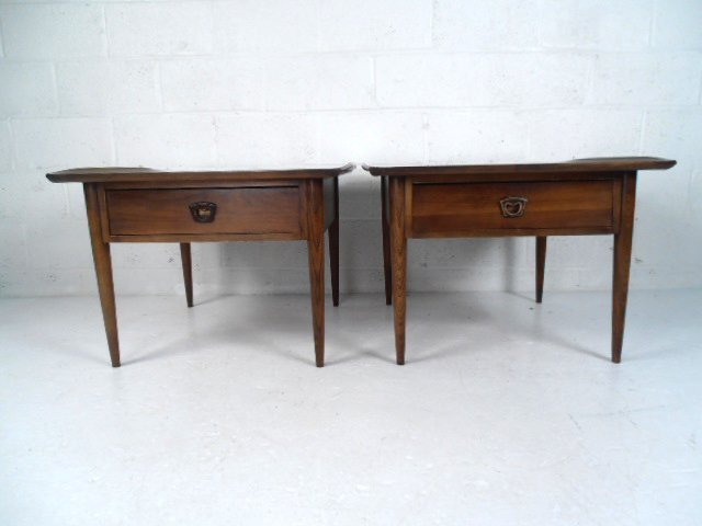Pair Mid-Century Walnut End Tables by Bassett Furniture - 2