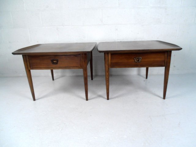 Pair Mid-Century Walnut End Tables by Bassett Furniture - 3