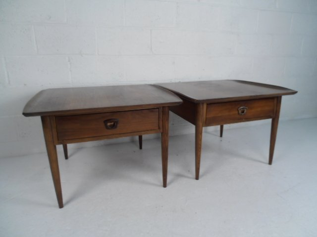 Pair Mid-Century Walnut End Tables by Bassett Furniture - 4