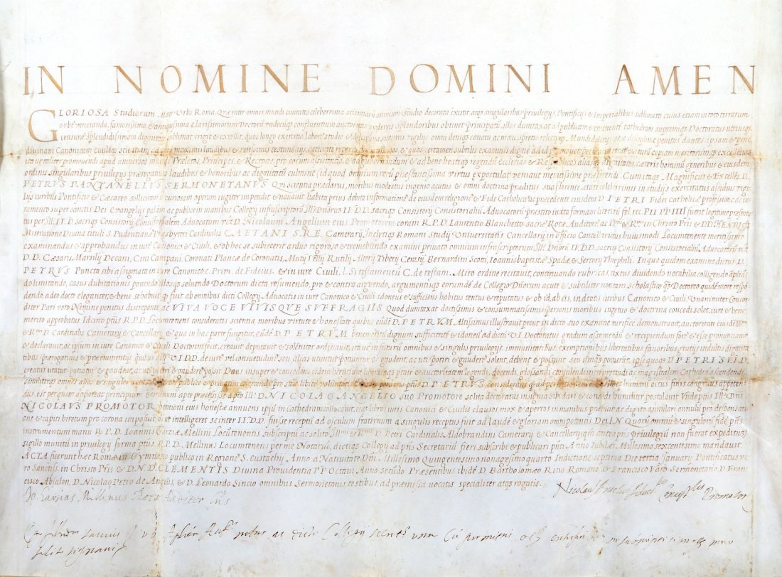 Diploma di Laurea di Pietro Pantanelli