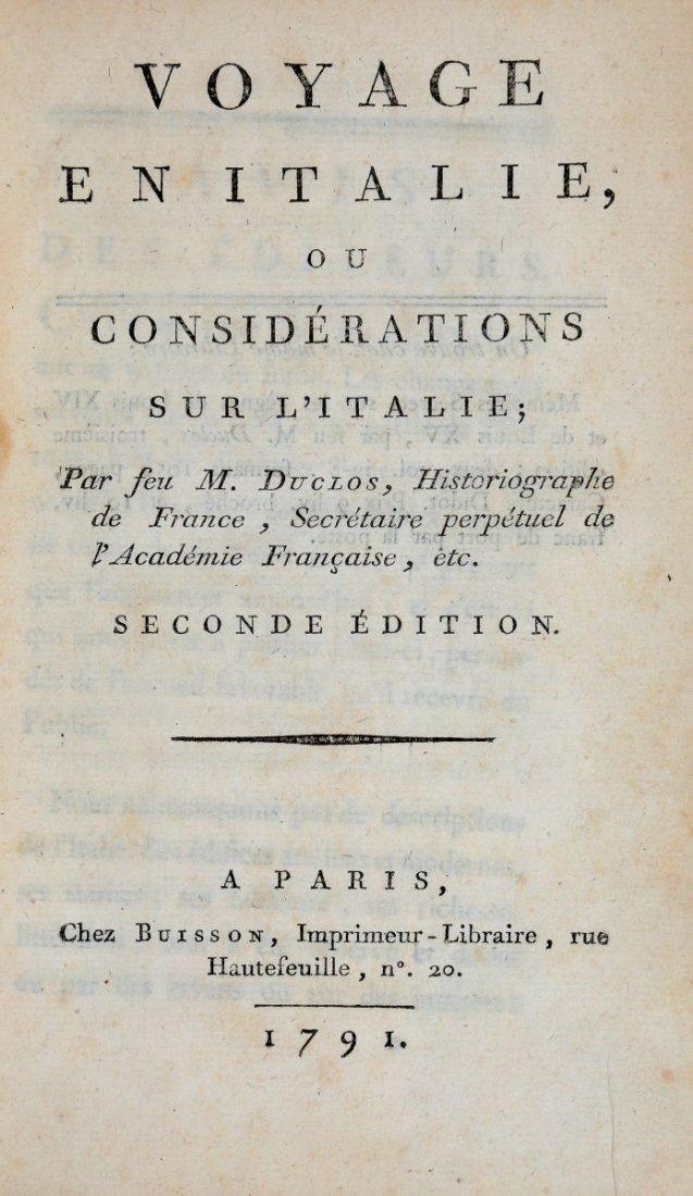 Duclos Charles Pinot. Voyage en Italie... A Paris: chez