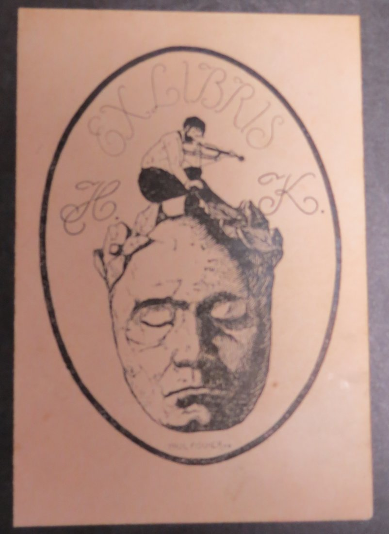 "Ex Libris Germany Paul Fisher 1918 3.5"" x 2.6"""