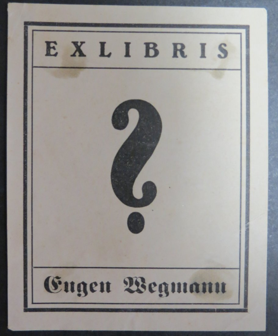 "Ex Libris Germany Eugen Wegmann 1930 3.5"" x 3"""