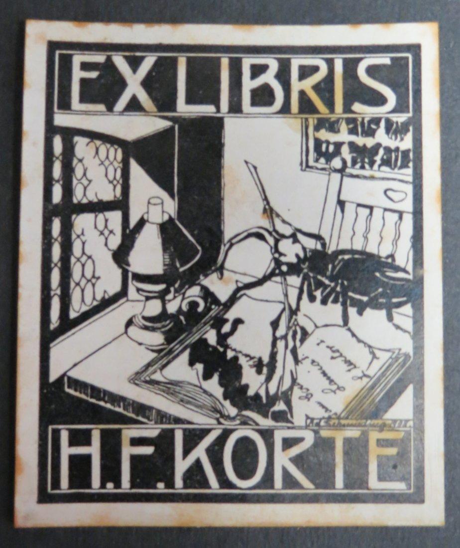 "Ex Libris Germany H F Korte 1908 2.8"" x 2"""