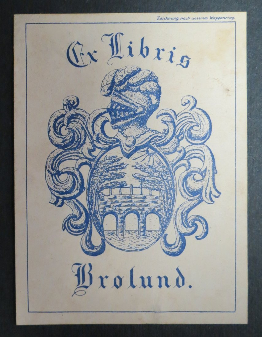 "Ex Libris Germany Brolund  1940 3.5"" x 2.5"""