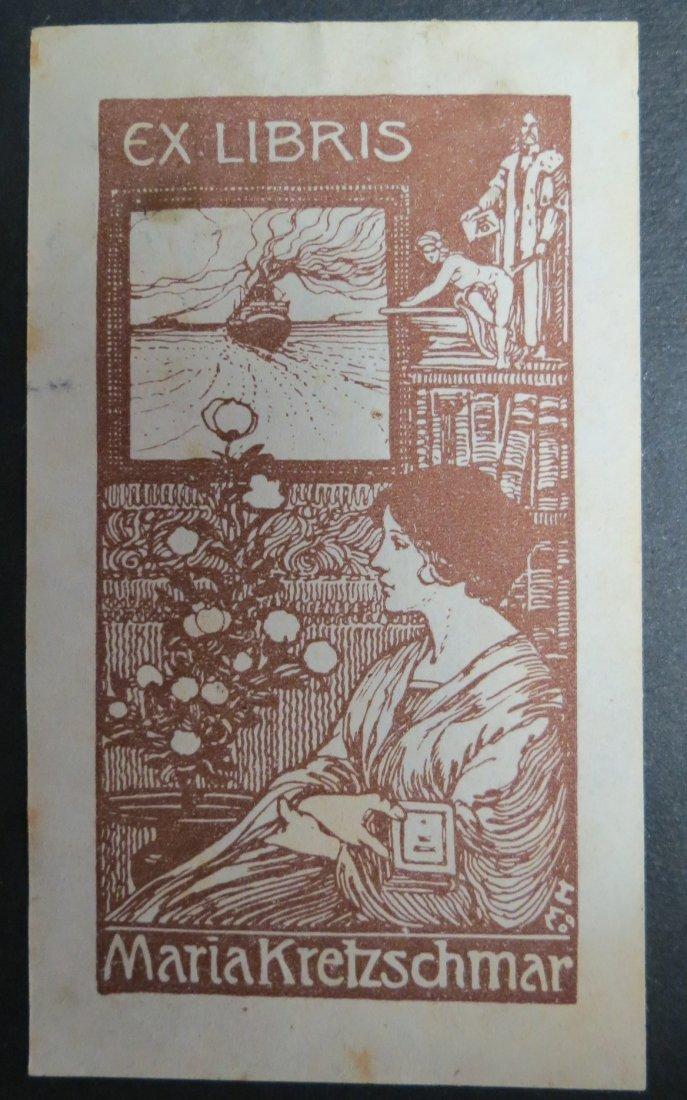 "Ex Libris Germany Maria Kretzcchmar 1909 4"" x 2"""
