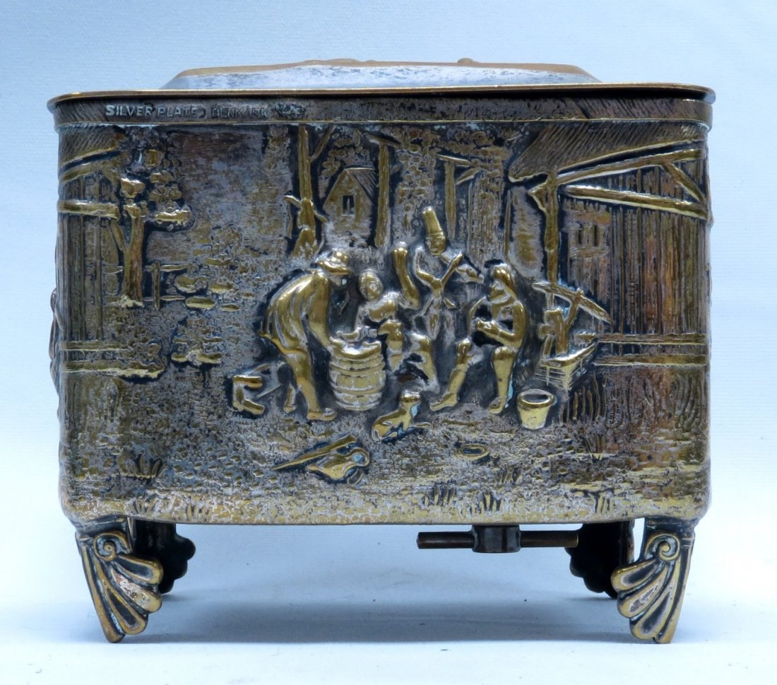Jewelry Music Box, Brass, W/Country Scene