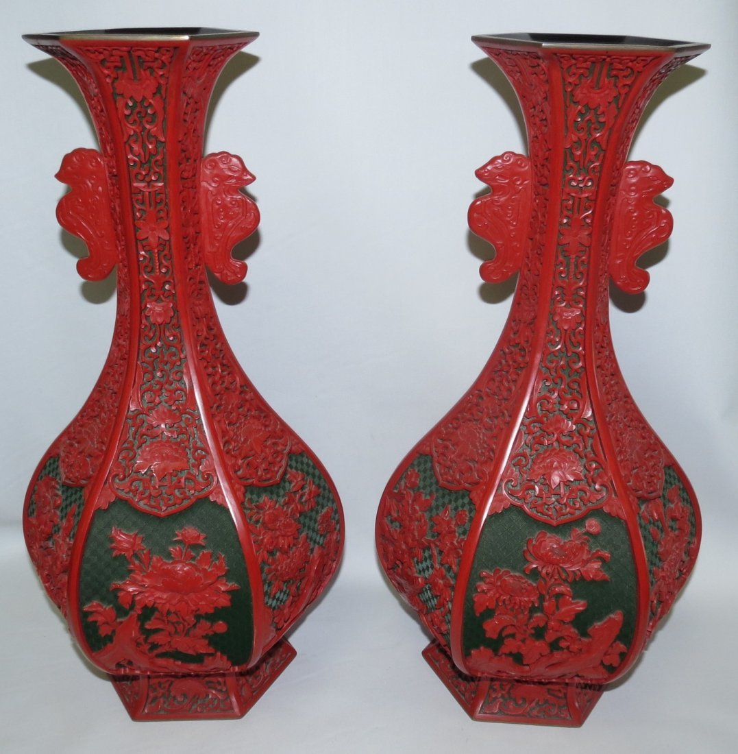 "Antique Pair of Cinnabar Vases H-18"" Dia.10"""