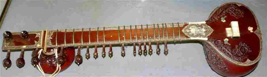 Sitar with Inlaid Bone Indian  Music Instrument