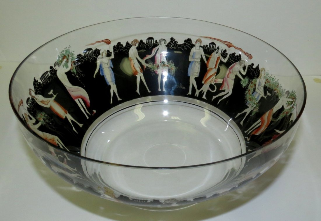 "Vector Art Deco Glass Bowl H: 4""  Diam: 9"""