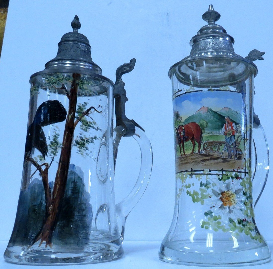 """Two Steins Enamel over Glass H: 9"""" each"""