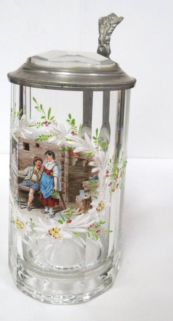 Enamel over Glass Austrian Stein Very Rare H: 8""