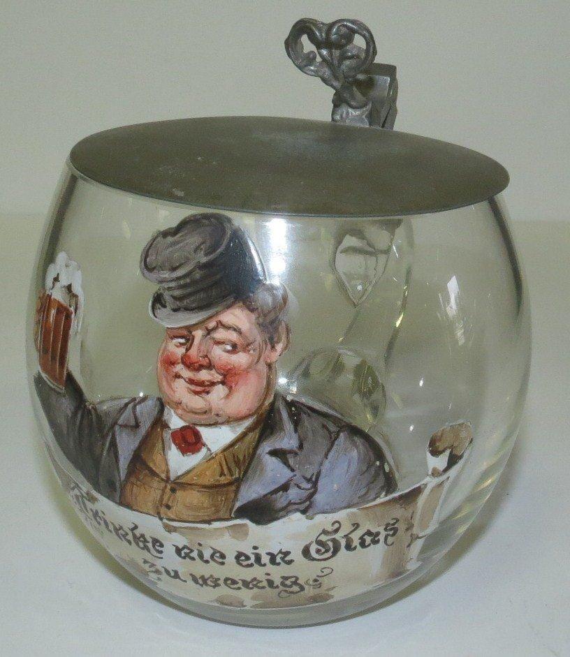 "Enamel over Glass German Stein  H: 5.5"""