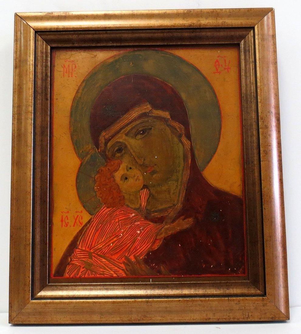 "Russian Icon W/ Frame 6.5"" x 5.2"""