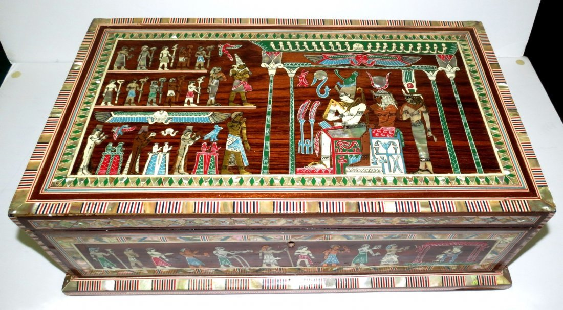 "Egyptian Inlaid Jewelry Box H: 6"" W: 17"" D: 10"""
