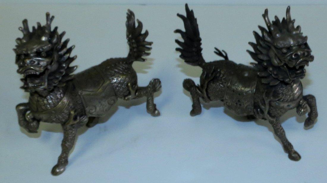 "Pair of Bronze Foo Lions H: 6"" W: 6"" D: 3"""