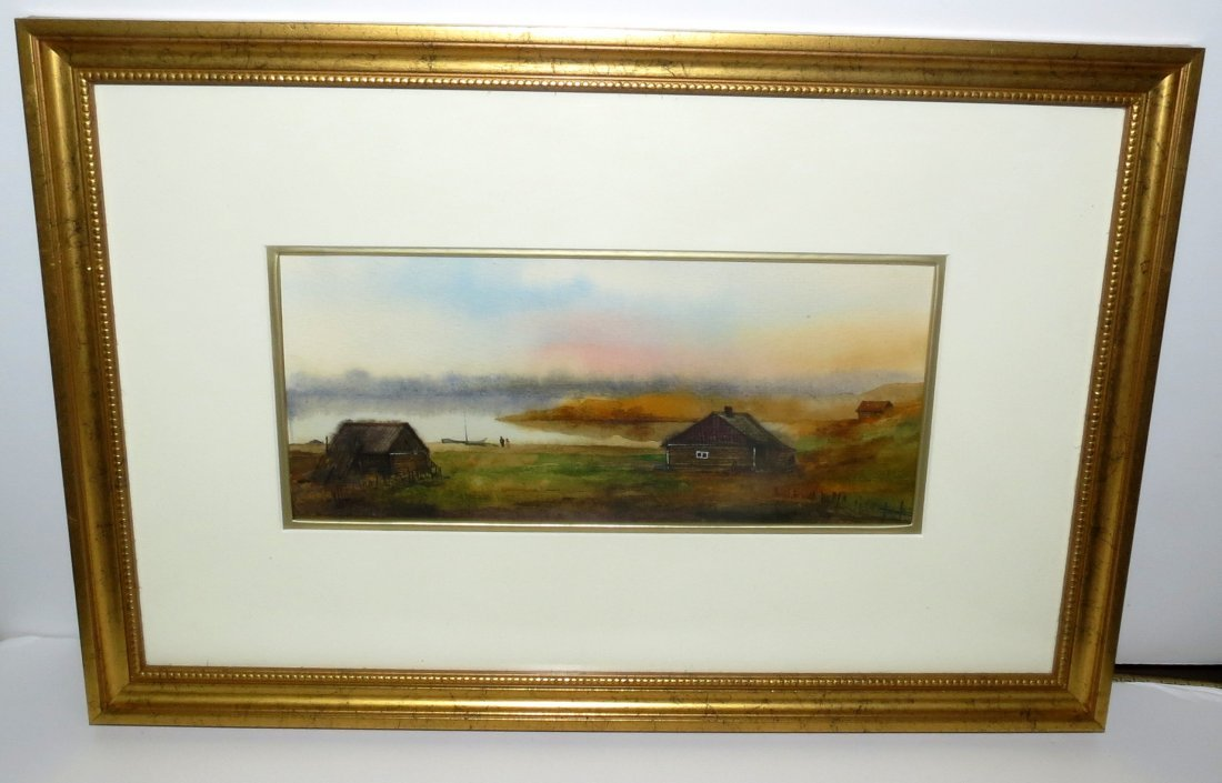 Russian Water Color M. Frihoff Valery ,Landscape