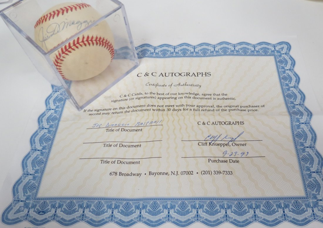 Joe DiMaggio signed baseball with Certificate of