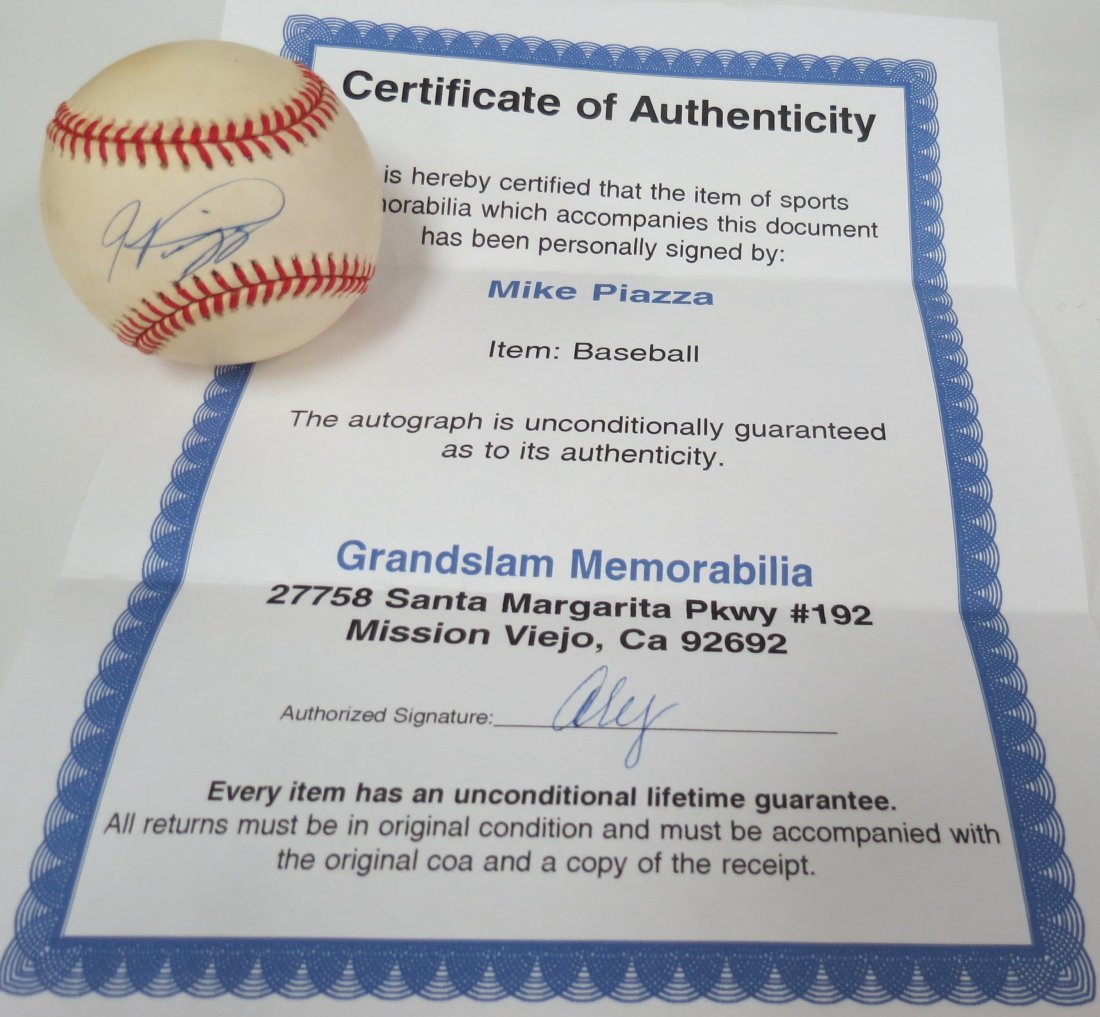 Mike Piazza signed baseball with Certificate of