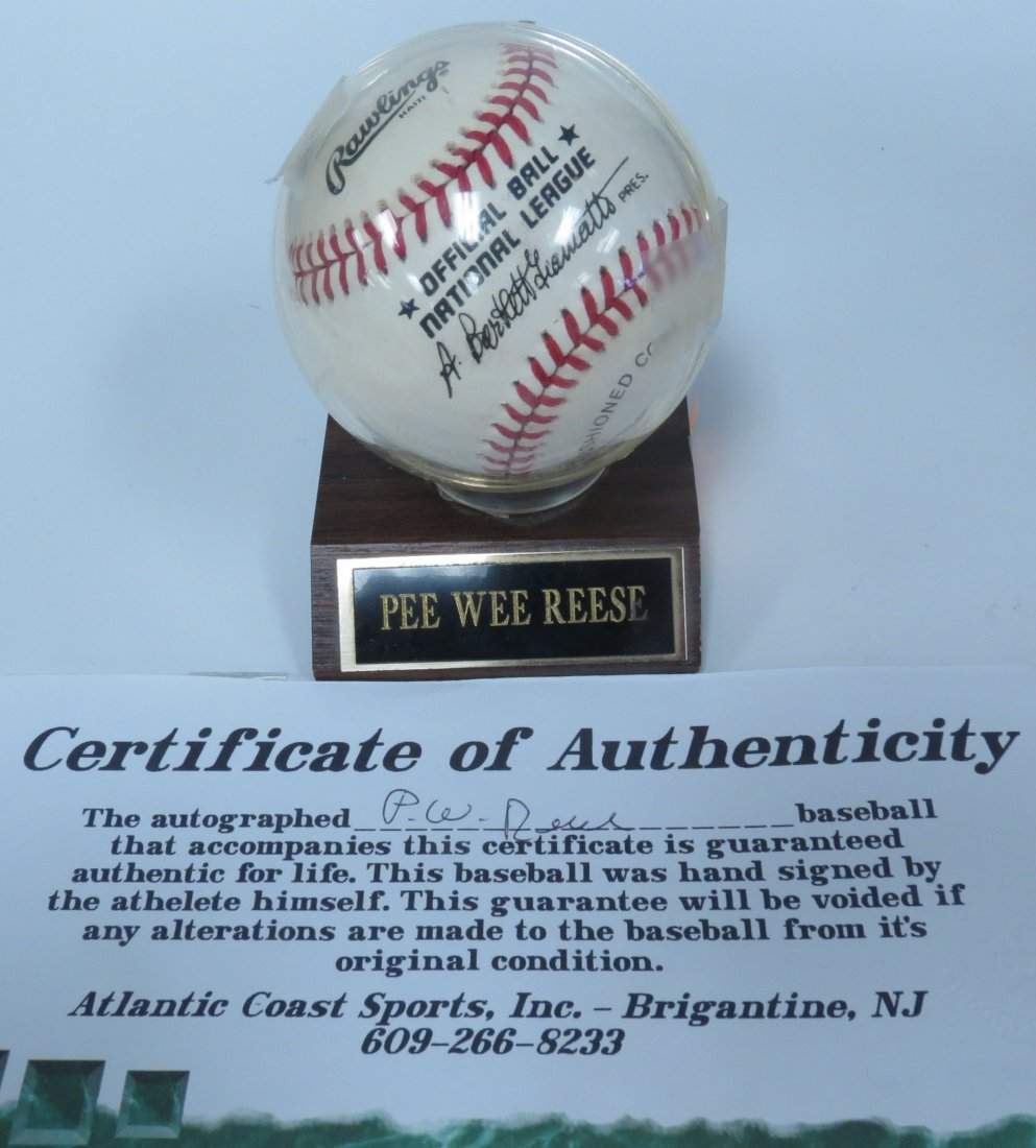 Pee Wee Reese signed baseball with Certificate of
