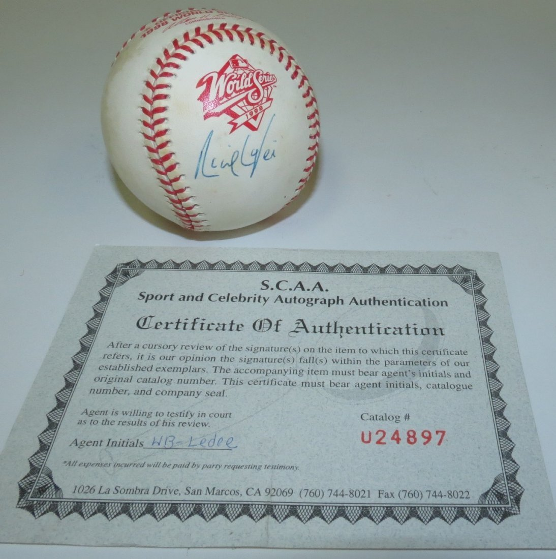 Ricky Ledee signed baseball with Certificate of