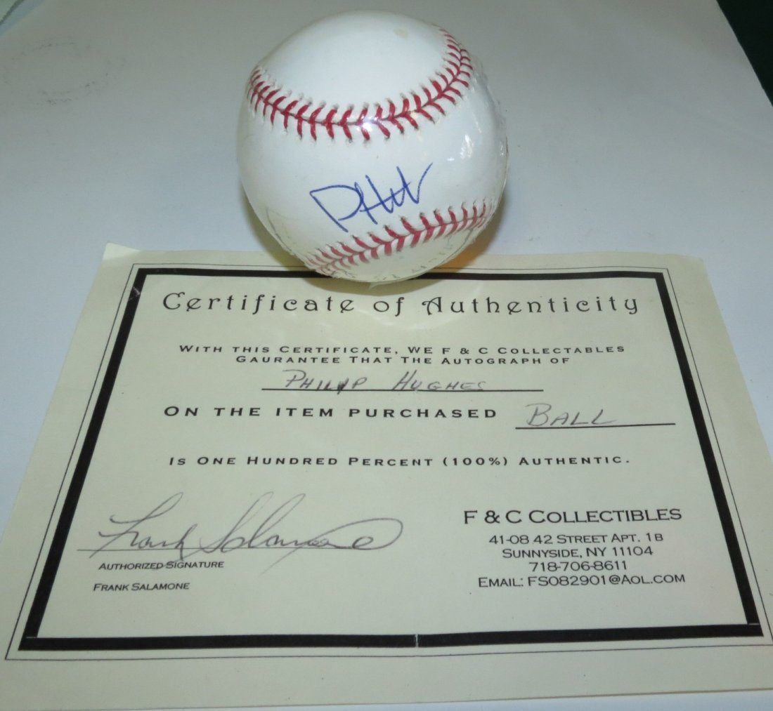 Philip Hughes signed baseball with Certificate of