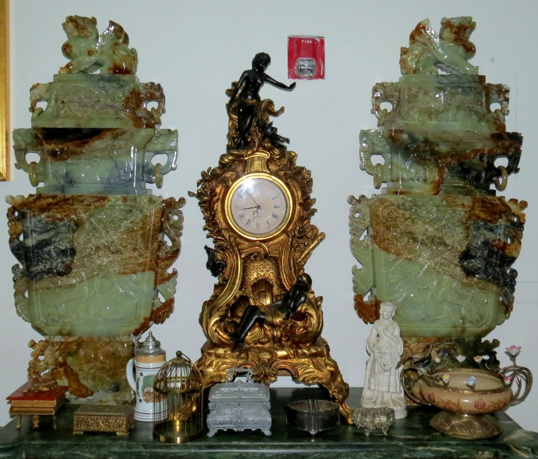 "Pair Giant Jade Vases,  H-47"" W24"" D-5''"
