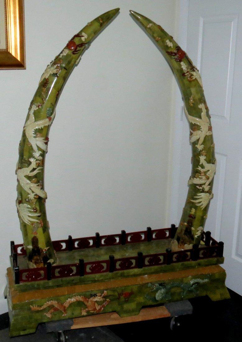 Pair Jade plaquettes and Bone inlaid  Tusks