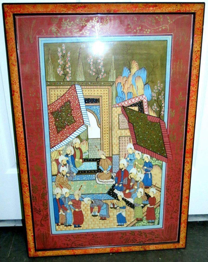 "Orientalist Gouache over Paper w/frame 20""x 30"""
