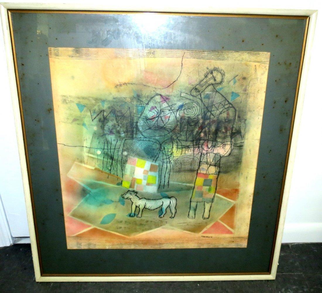 "Louis Maqhubela Gouache on w/frame 33"" x30"""