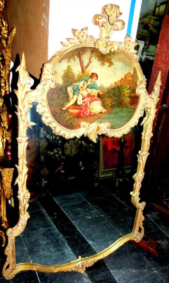 "French Mirror with Romantic Scene 55"" x 35"""