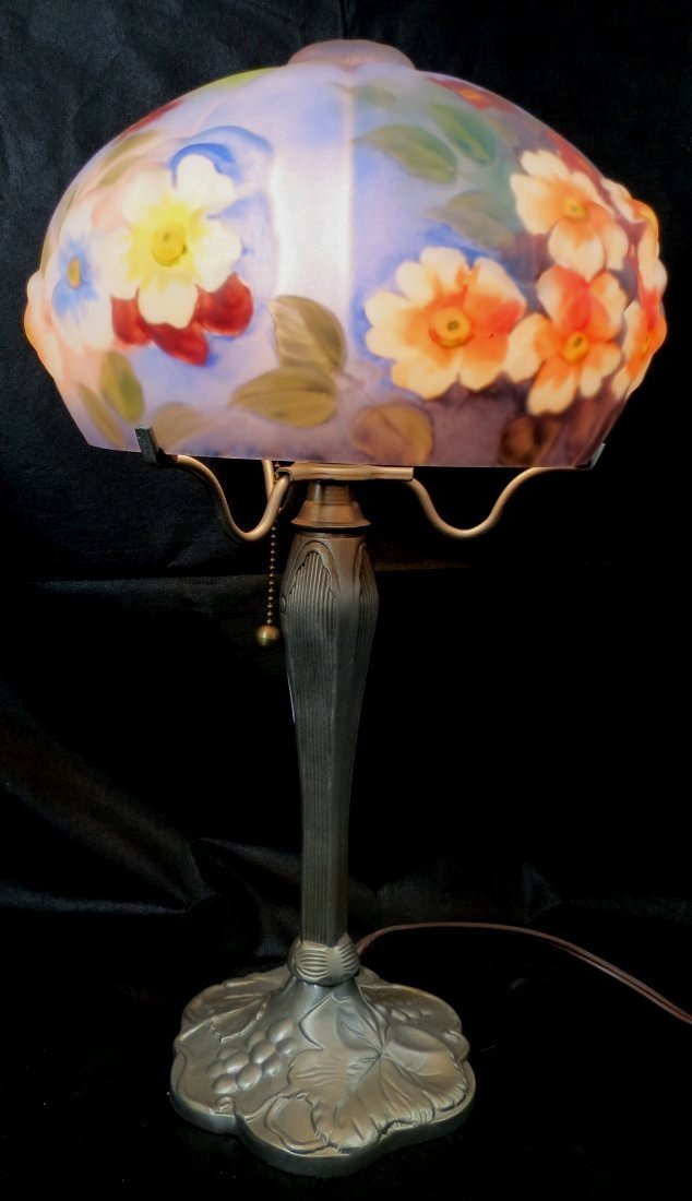 """Table Lamp w/ Reverse Painted Shade 21""""x 12"""""""