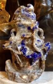 "Antique Blue Jade Vase China 1890 H: 7"""