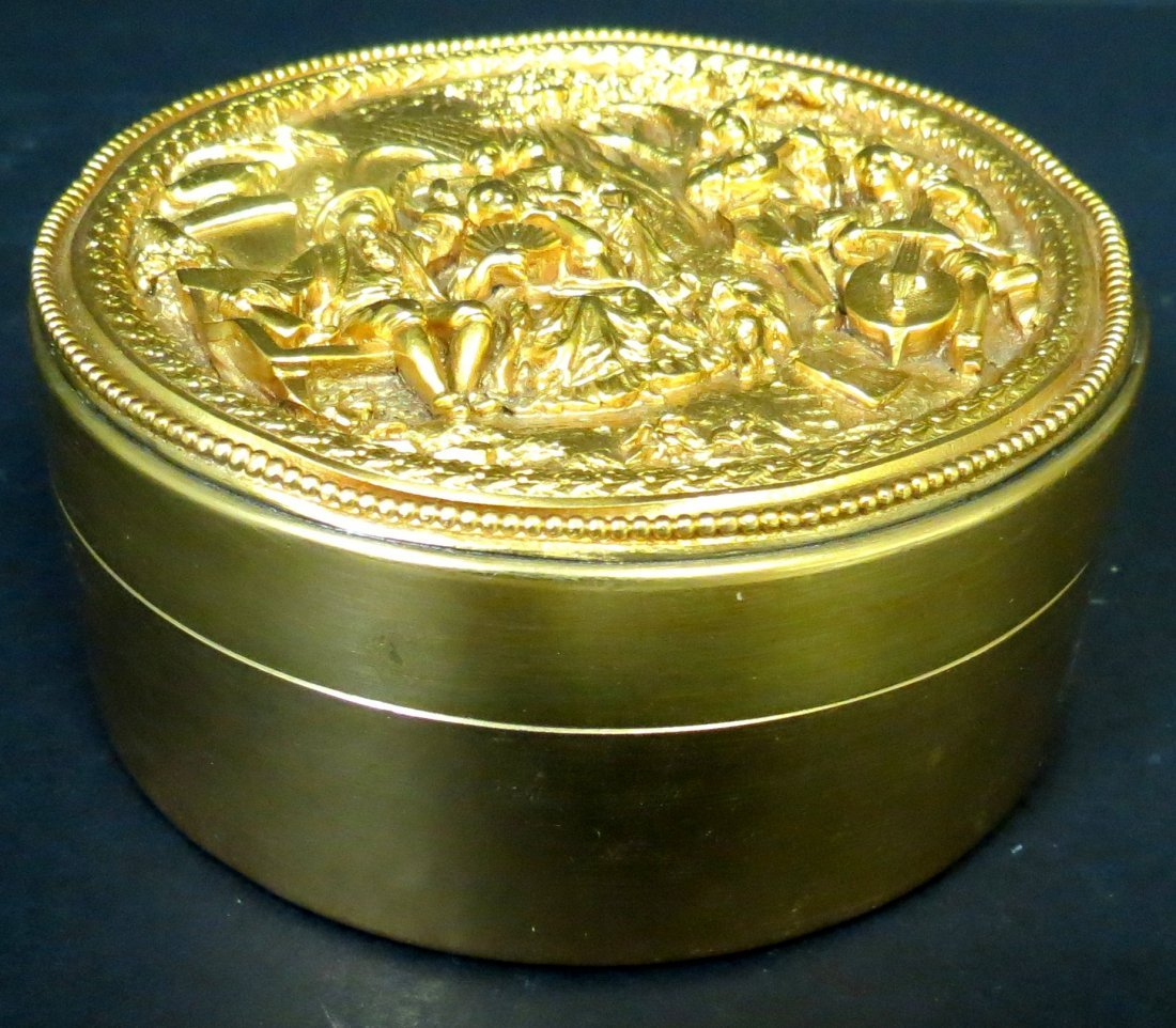 "Dore Bronze Jewelry Box France 1920 H: 2"" D: 4"""