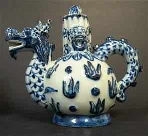 """Qianlong Tea Pot Family Blue China H: 6.5"""""""
