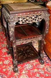 Chinese Pedestal Table (1880) Mother Pearl