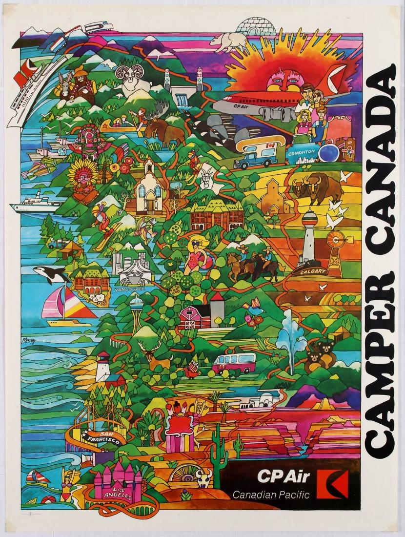 Travel Poster Camper Canada CP Air Canadian Pacific