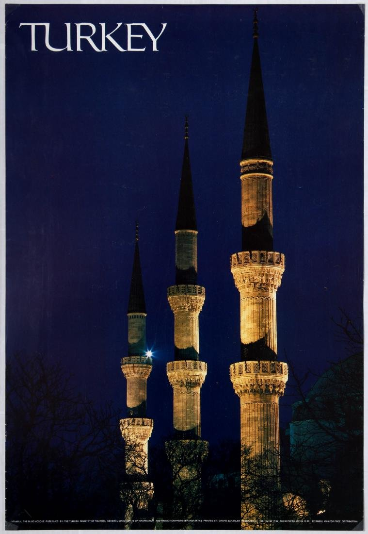 Travel Poster Turkey The Blue Mosque Istanbul