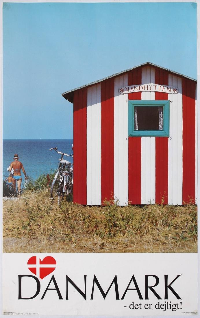 Travel Poster Denmark It's great! Beach Hut Poster