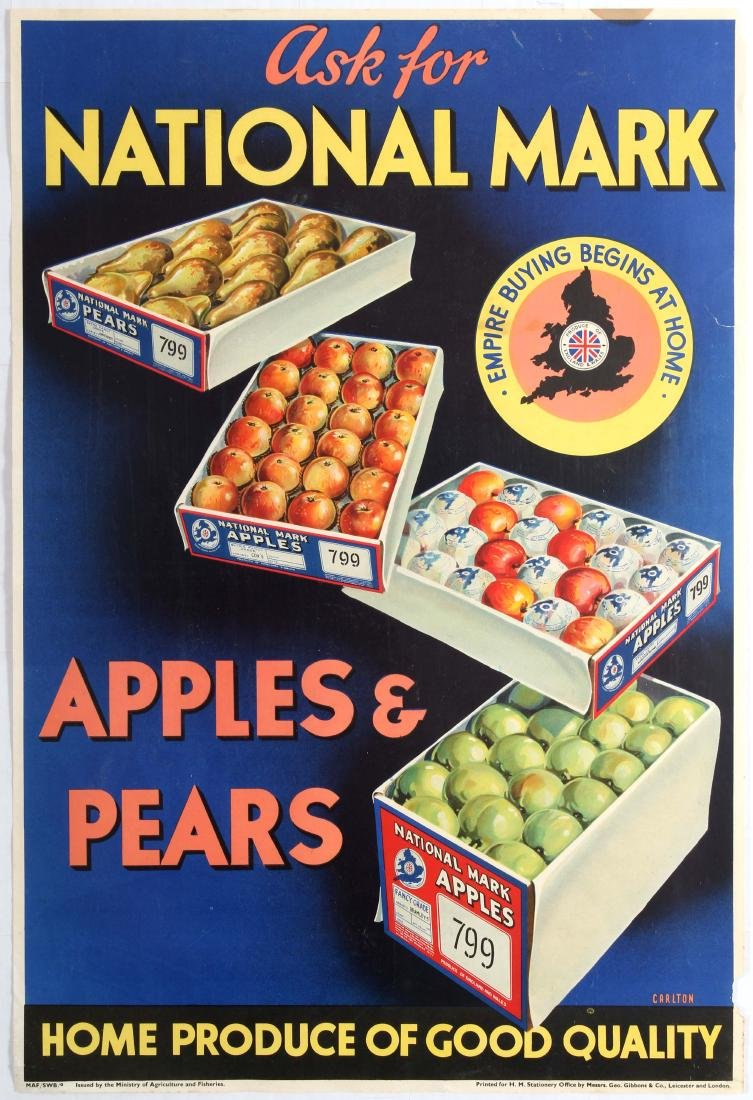 British Advertising Poster Apples Pears Home Produce