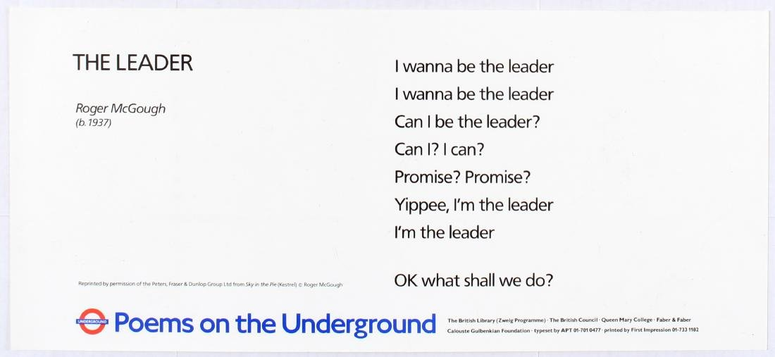 London Underground Poster Poems Roger McGough