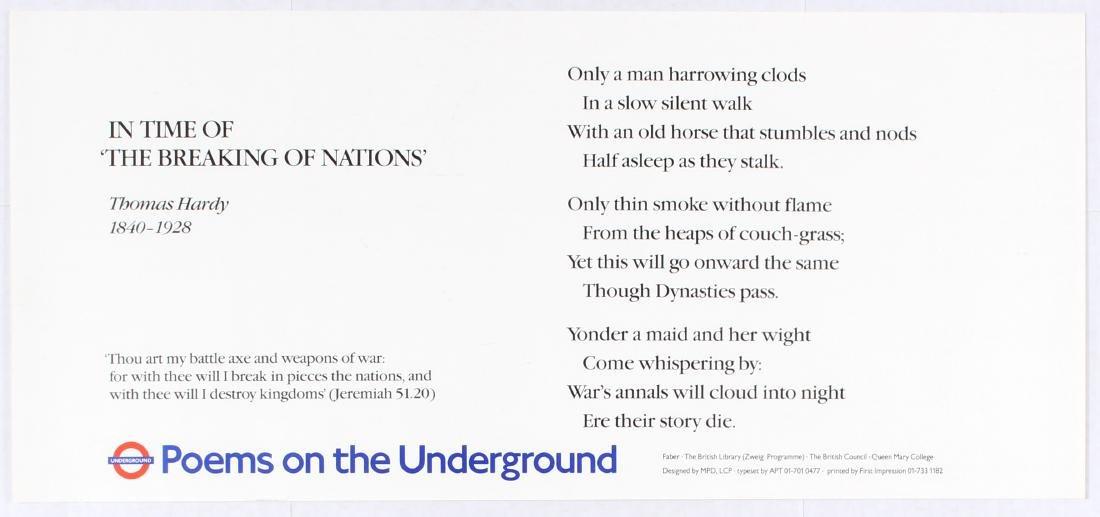 London Underground Poster Poems Thomas Hardy