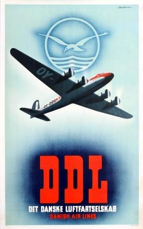 Airline Poster DDL Danish Air Lines Bjorvig Douglas DC