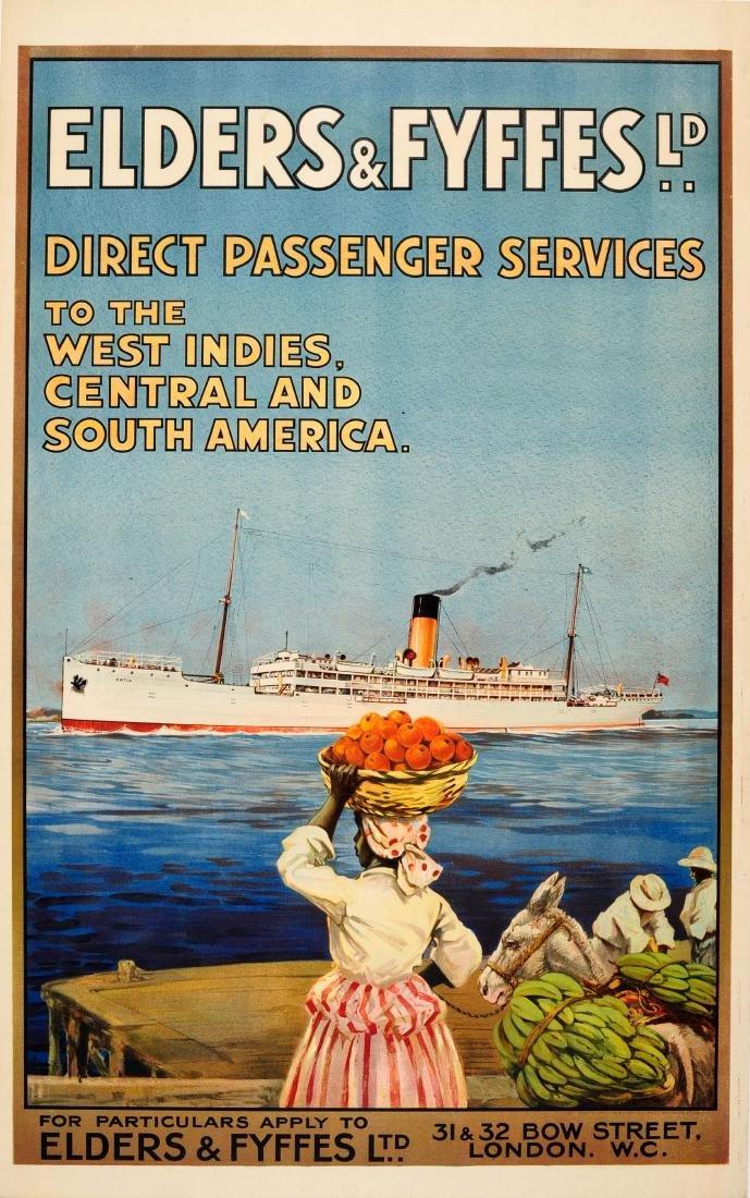Travel Poster West Indies Elders Fyffes Cruise Line